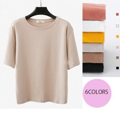 Tシャツブラウス レディース トップス 半袖 純色 ゆったり 女性の大きいサイズ夏 Tシャツ【2点以上10%割引】