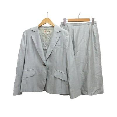 【中古】エルミダ el midas スーツ セットアップ スカート ウール混 シルク混 9 ライトブルー レディース 【ベクトル 古着】