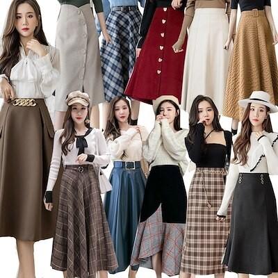 秋新 ロングスカート韓国ファッションチェックスカートロングスカート フレアススカート タイトスカート
