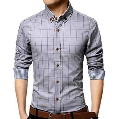 メンズ チェック 柄 シャツ 長袖 カジュアル ワイシャツ 大きいサイズ も ビジネス ボタン M,(グレー, M)