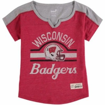 Outerstuff アウタースタッフ スポーツ用品  Wisconsin Badgers Girls Youth Heathered Red Tribute Raglan Tri-Blend Football T-Shirt