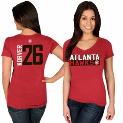 Majestic マジェスティック スポーツ用品  Majestic Kyle Korver Atlanta Hawks Womens Red Name & Number V-Neck T-Shirt