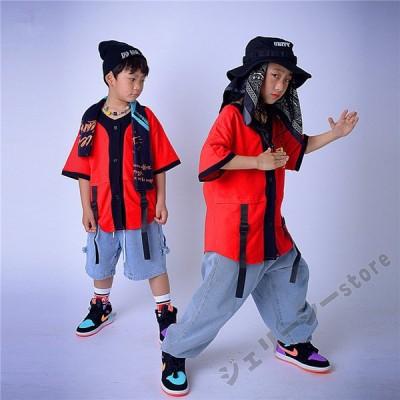 キッズ ダンス衣装 ヒップホップ レッドトップス デニムパンツ 半袖トップス 子供ダンス 練習着 セットアップ 演出服 発表会 120-170cm