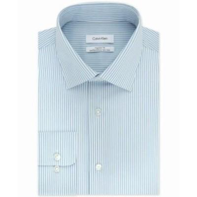 Calvin Klein カルバンクライン ファッション ドレス Calvin Klein Mens Dress Shirt Blue Size 16 1/2 Stripe Print Regular Fit
