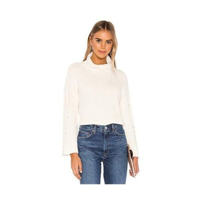 Bella Dahl Cable Sleeve Turtleneck Crop Sweater Soft Chenille Winter White