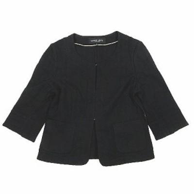 【中古】ラピスルーチェパービームス LAPIS LUCE PER BEAMS リネン混 ノーカラージャケット 七分袖 38 黒 ブラック