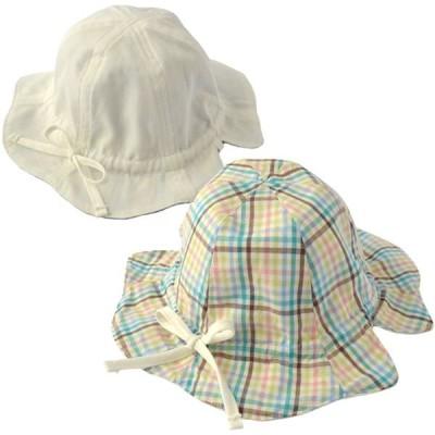 プチボヌール Petit Bonheur リバーシブルハット/マルチチェック×ホワイト 帽子