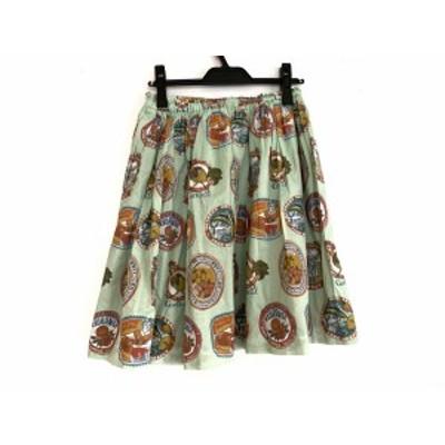 ジェーンマープル Jane Marple スカート サイズM レディース 美品 ライトグリーン×レッド×マルチ Dans Le Salon【中古】20200710