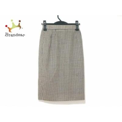アクリス AKRIS ロングスカート サイズ36(D) レディース アイボリー×ネイビー チェック柄           スペシャル特価 20200118