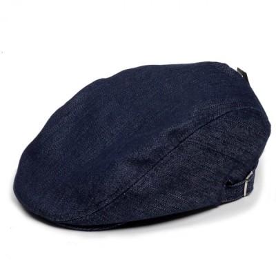 ハンチング帽 メンズ オールシーズン 定番 ネイビー デニム ジーンズ生地 紺色 ソリッド 無地 サイドスナップ ハンチングキャップ 帽子 フリー 58cm 調整可能