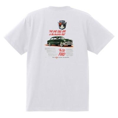 アドバタイジング フォード Tシャツ 白 1048 黒地へ変更可 1950 ビクトリア クレストライナー シューボックス f1 ホットロッド ロカビリー