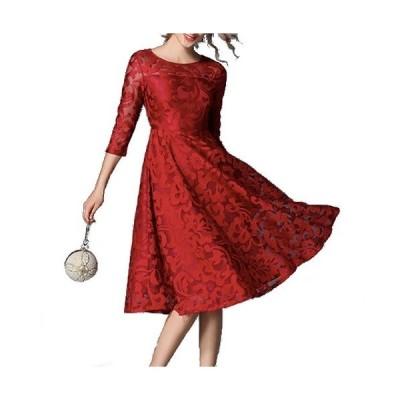 総レース フレア シースルー ひざ丈 七分袖 ドレス (赤 ルージュ)レディース パーティ ワンピース