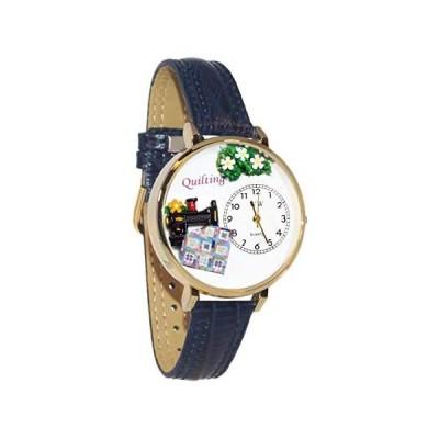 キルト 水色レザー ゴールドフレーム時計 #G0450012
