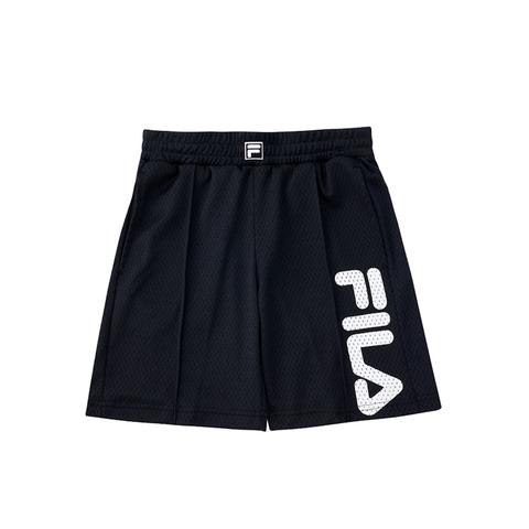 FILA #NEWTRO MANIA KIDS透氣網眼籃球五分褲-黑色 1SHV-4408-BK