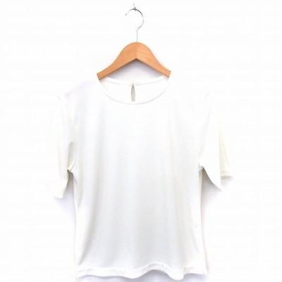 【中古】Tシャツ カットソー 無地 丸首 半袖 9AR ホワイト 白 /FT19 レディース 【ベクトル 古着】