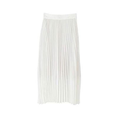 【未使用】(ティティベイト) titivate プリーツ ロング スカート ATXN0196【L・無地/ホワイト】dv-35