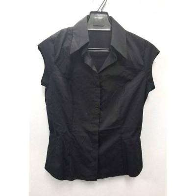 美品 フォクシー ロゴ刺繍 ノースリーブ シャツ ブラック 黒 レディース FOXEY NEWYORK