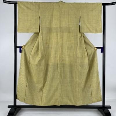 紬 美品 秀品 格子 黄色 袷 154cm 61cm S 正絹 中古