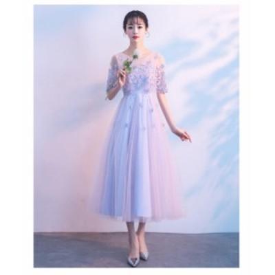 パーディードレス ウエディングドレス aラインワンピ フレア袖 キャバ ロングドレス 20代 30代 40代 大きいサイズ 顔合わせ 結婚式 発表
