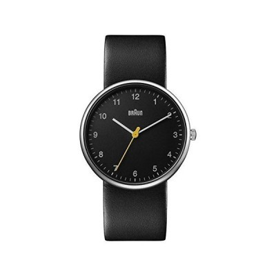 Braun Mens 3-Hand Analogue Quartz Watch, Black Dial and Black Leather Strap, 38mm Alloy Case, Model BN0231BKBKGAL. 並行輸入品