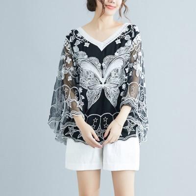 レディース シャツ ブラウス ゆったり 体型カバー Vネック 長袖 ドルマンスリーブ エスニック 刺繍 上質 エレガント