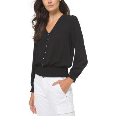 マイケル コース Michael Kors レディース ブラウス・シャツ トップス Button Down Long Sleeve Top, Regular & Petite Sizes Black