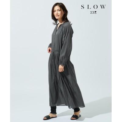 【SLOW】フロントオープンコットン ワンピース(T45)