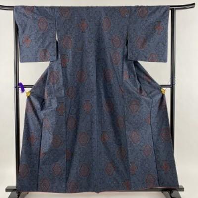 大島紬 美品 秀品 華文 幾何学 紺色 袷 身丈160.5cm 裄丈64cm M 正絹 中古