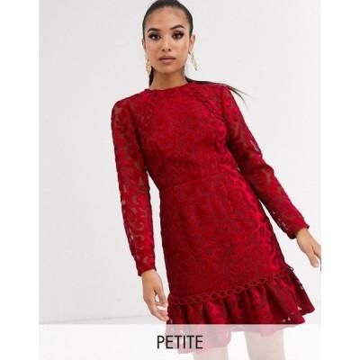 エイソス ミディドレス レディース ASOS DESIGN Petite Premium lazer cut velvet mini dress with pephem エイソス ASOS