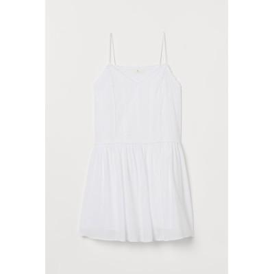 H&M - 刺繍コットンワンピース - ホワイト
