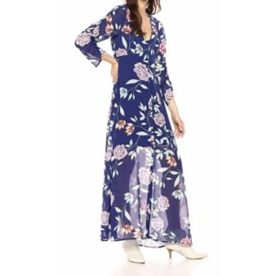 GUESS ゲス ファッション ドレス Guess Womens Blue Size Medium M Floral Print V-Neck Maxi Dress