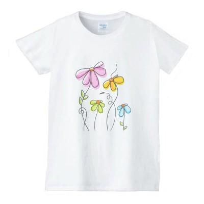 花 フラワー Tシャツ 白 レディース 女性用 jfw36