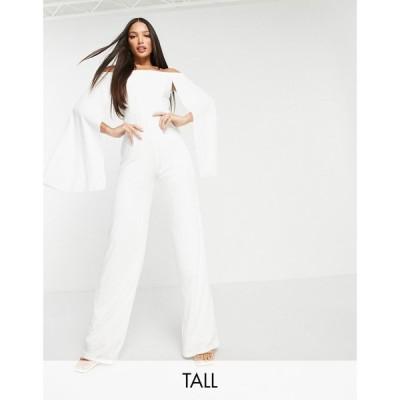クラブ エル Club L London Tall レディース オールインワン ジャンプスーツ Club L London tall bardot flared sleeve jumpsuit in white ホワイト