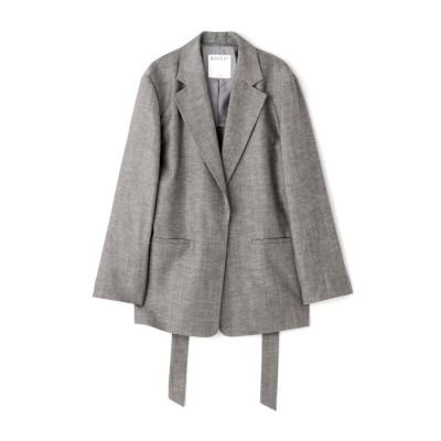 ◆ウール麻セットアップジャケット ブラックシャンブレー1