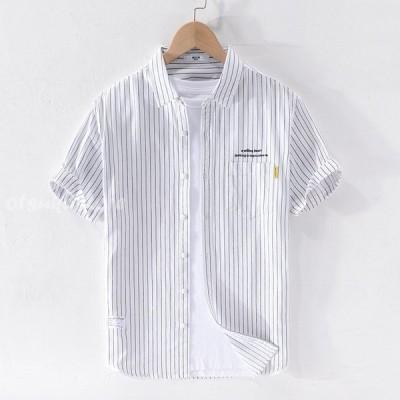 綿シャツ メンズ 半袖 ストライプ柄 カジュアルシャツ 開襟シャツ 通気 春 夏 トップス シンプル おしゃれ