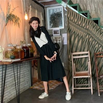ミモレ丈クルーネックワンピース+ニットベスチェセット ゆったり 長袖 レディース 韓国ファッション オルチャン 可愛い