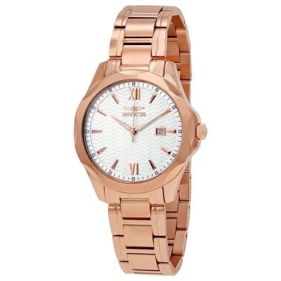メンズ 腕時計 インヴィクタ Invicta 18110 Mens Silver Dial Rose Gold Tone Stainless Steel Bracelet Watch