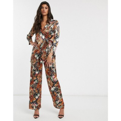 ニューガールオーダー New Girl Order レディース ボトムス・パンツ relaxed trousers in dragon floral satin co-ord マルチカラー