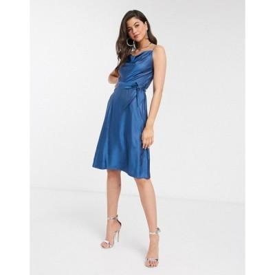 クローゼットロンドン レディース ワンピース トップス Closet cowl neck satin midi slip dress in blue