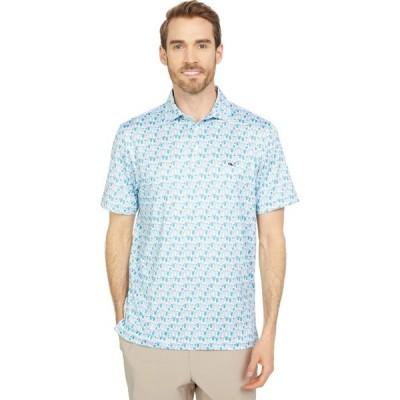 ヴィニヤードヴァインズ Vineyard Vines メンズ ポロシャツ トップス Printed Sankaty Polo Flats Blue