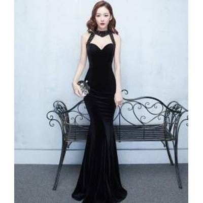 ドレス ワンピース ロング丈 ノースリーブ ブラック マーメイド 30代 上品 エレガント きれいめ 春夏 結婚式 お呼ばれ a881