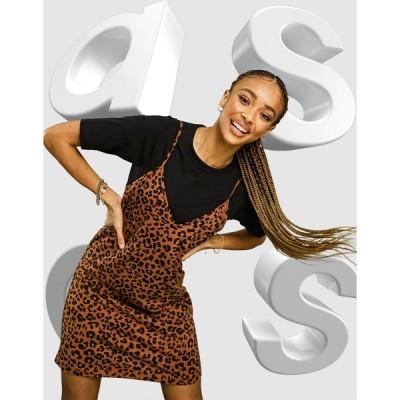 エイソス ミニドレス レディース ASOS DESIGN 2 in 1 mini short sleeve dress with slip in leopard print エイソス ASOS