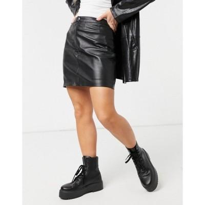 ボロンガロトレバー レディース スカート ボトムス Bolongaro Trevor Sandra leather skirt in black Black