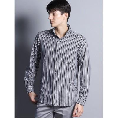 【タカキュー】 カノコストライプ スタンドカラー長袖カットシャツ メンズ ブラック LL(XL) TAKA-Q