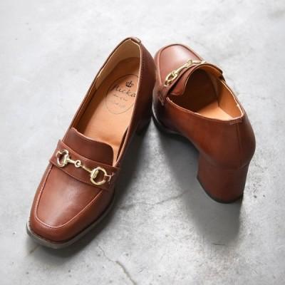 靴 レディース シューズ パンプス ローファー マニッシュ ビット ハイヒール 黒 ブラック ブラウン 美脚 NOFALL SANGO サンゴ