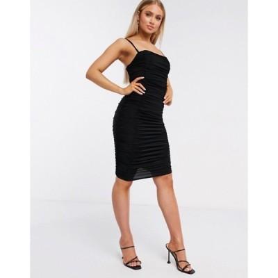 クラブエル ロンドン レディース ワンピース トップス Club L ruched mini cami dress in black