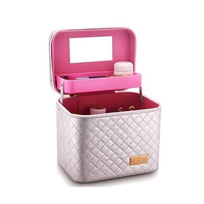 BLUCE&GRACE メイクボックス バニティケース メイクポーチ 大容量 コスメ 化粧ボックス 化粧箱 化粧ケース (ピンク)