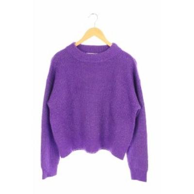 【中古】マウジー moussy 18SS HI NECKED LOOSEニット セーター 長袖 F 紫 /MY ■OS レディース