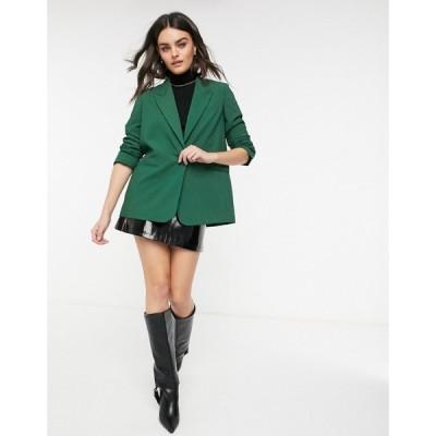 マンゴ Mango レディース スーツ・ジャケット アウター boxy blazer in green グリーン