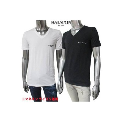 バルマン BALMAIN メンズ トップス Tシャツ 半袖 2color ※丸首タイプも有あります バイカラースモールロゴ刺繍付Tシャツ (R22000)